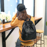 Cool Black Soft Leather Ladies Simple Large School Backpack For Big Sale!- Fowish.com