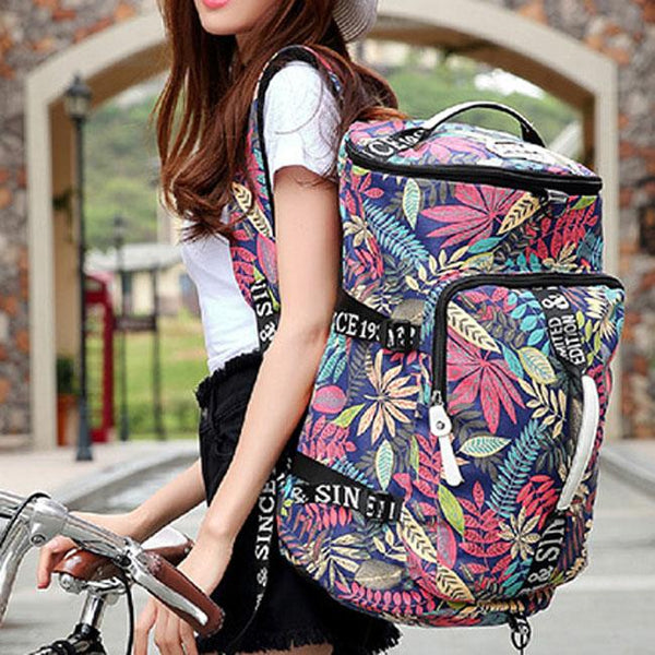 Leisure Drum Outdoor Canvas Rucksack Flower Leaves Multi-function Shoulder Bag Travel Large Backpack For Big Sale!- Fowish.com