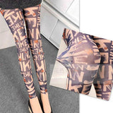 Unique Tissue Designed Doodle Cartoon Printing Mesh Lace Girl's Ninth Leggings For Big Sale!- Fowish.com