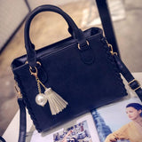 Fashion Frosted Girl's PU Tassel Pearl Pendant Square Weave Handbag Shoulder Bag For Big Sale!- Fowish.com