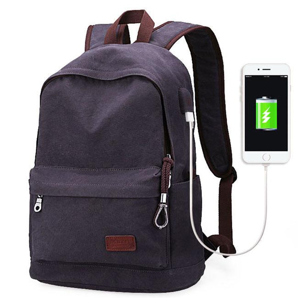 Simple Men's Leisure School Bag USB Interface Canvas Travel Backpack For Big Sale!- Fowish.com