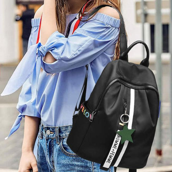 Fashion Black White Stripe Oxford School Star Decor Backpack For Big Sale!- Fowish.com