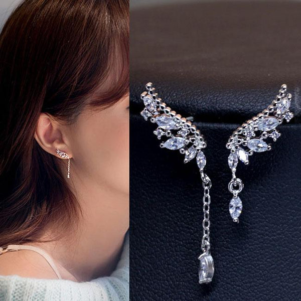 Fashion Angel Wings Diamond Asymmetric Tassel Crystal Lady Earrings Studs For Big Sale!- Fowish.com