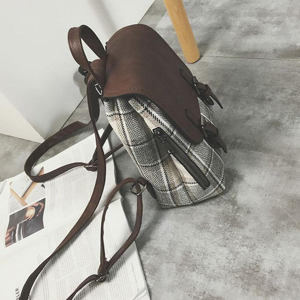 Retro Contrast Color Lattice Bag Multifunction Woolen Girl's Grid Backpack For Big Sale!- Fowish.com