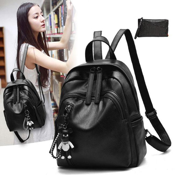 Leisure Girl's Waterproof PU Black Bucket Bag Double Zipper School Backpack Leather Travel Backpack For Big Sale!- Fowish.com