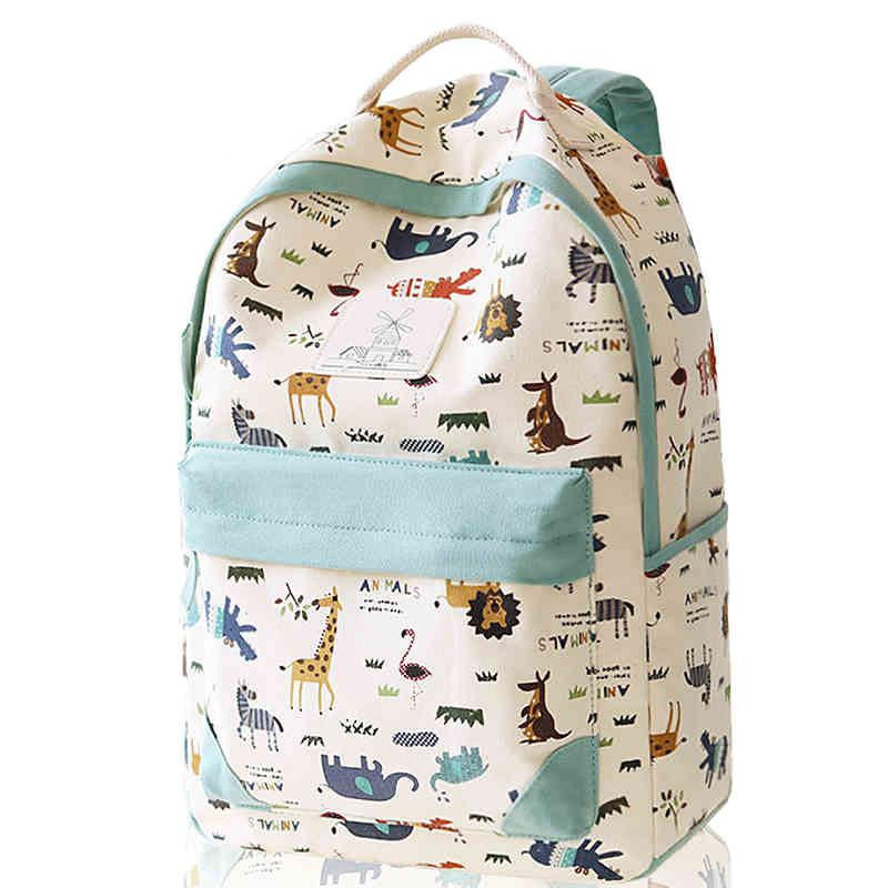 Leisure Zoo High School Rucksack Animal Paradise College Canvas Backpack - lilyby