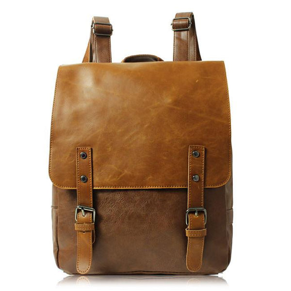 Folk British Style Schoolbag Backpack Leaves Leather College Rucksack For Big Sale!- Fowish.com