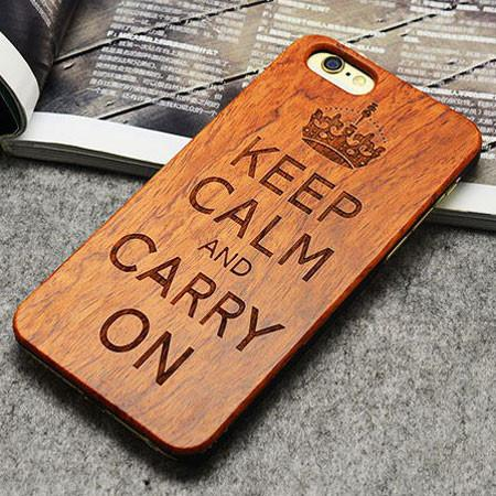 Handmade Carving Imperial Crown Wood  Case For Iphone 5/5S/6/6Plus - lilyby