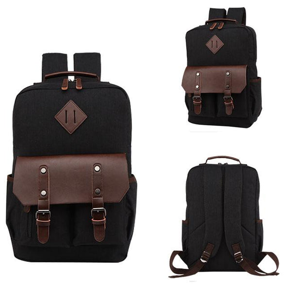 Retro Two Pockets Waterproof Leather Flap Large School Laptop Bag Travel Splicing PU Canvas Backpack For Big Sale!- Fowish.com