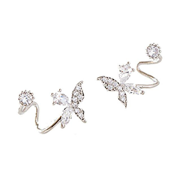 Fresh Silver Diamond Butterfly Spiral Flower Earrings Studs For Big Sale!- Fowish.com