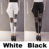 Unique Embroidery Black Mesh Rose Patch Ripped Stretchy Skinny Ninth Legging Jean For Big Sale!- Fowish.com