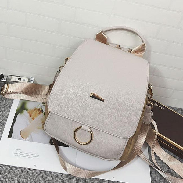 Elegant Lady Multi-function Shoulder Bag Ring PU Backpack For Big Sale!- Fowish.com