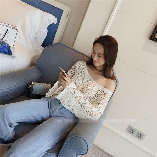 Flare Long-sleeved Hollowed-out See-through Irregular Sweater For Big Sale!- Fowish.com