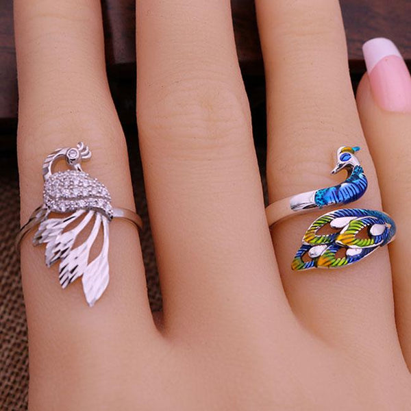 Unique Handmade Silver Peacock Adjustable National Folk Open Animal Ring For Big Sale!- Fowish.com