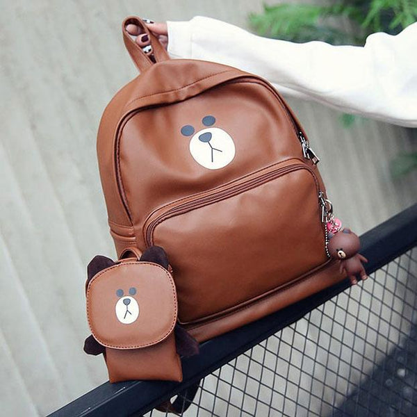 Girl's PU Bear Gift Bear Head Flap Small Shoulder Bag Large Student Animal Cartoon School Backpack For Big Sale!- Fowish.com