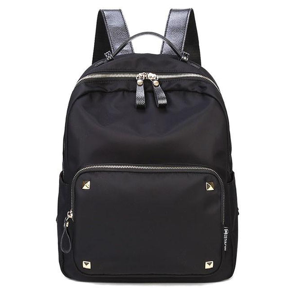 Fashion Simple Large Polyester Splicing PU Rivets Waterproof College Backpack For Big Sale!- Fowish.com