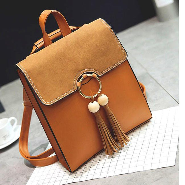 Fresh Pure Color PU Circular Ring Tassel Solid School Backpack For Big Sale!- Fowish.com
