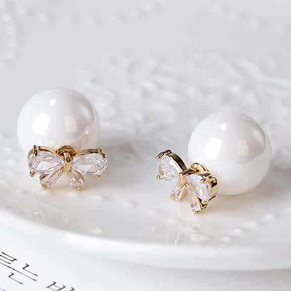 Elegant Bow Zircon Pearl Round Dual-purpose Lady Earring Studs For Big Sale!- Fowish.com