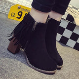 Side Zipper Round Toe Tassel High Heeled Ankle Short Boot For Big Sale!- Fowish.com