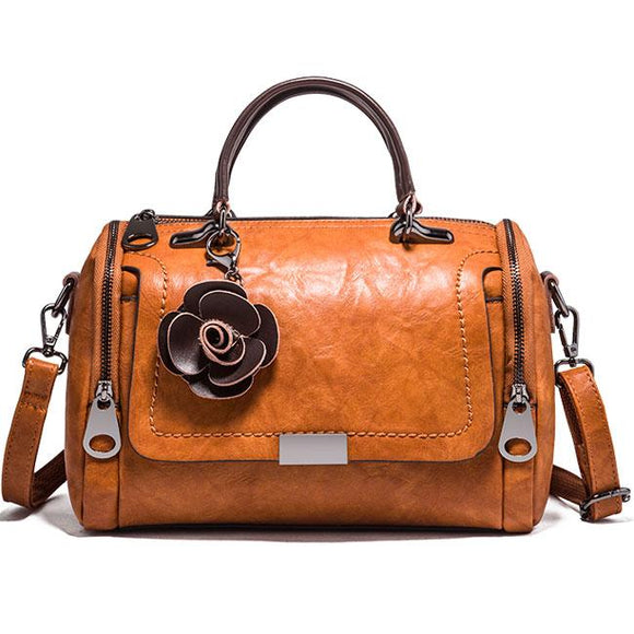 Retro Casual Flower Decor Soft Leather Handbag Lady Shoulder Bag For Big Sale!- Fowish.com