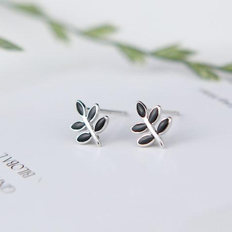 Vintage Mini Silver Girl's Earring Studs Cute Leaves Spring Simple Black Leaf Earrings Studs For Big Sale!- Fowish.com