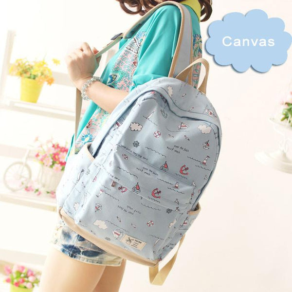 Fresh Anchor Rucksack New Ocean Boat High School Canvas Backpack - lilyby