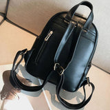 Leisure Contrast Color Girl's School Bag Small  Black PU College Backpack For Big Sale!- Fowish.com