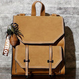 Retro Brown Frosted Flap Belt Square School Bag Lady College Backpack For Big Sale!- Fowish.com