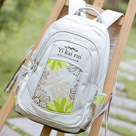 Chrysanthemum Printed School Bag Waterproof Backpack - lilyby