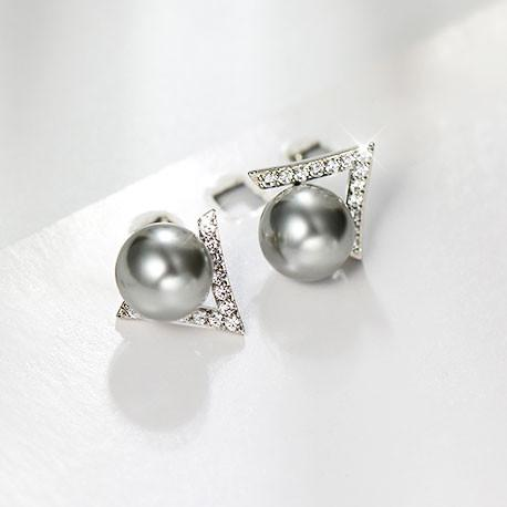 Cute Pearl Inlay V Shape Diamond Triangle Silver Women Earring Studs For Big Sale!- Fowish.com