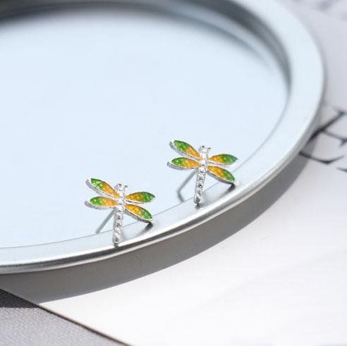 Fresh Vivid Dragonfly Yellow Green Wings Silver Girl's Cute Animal Earring Studs For Big Sale!- Fowish.com
