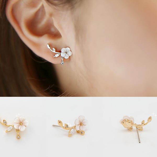 Unique Design Silver Shell Flower Shape Fashion Earring Studs For Big Sale!- Fowish.com