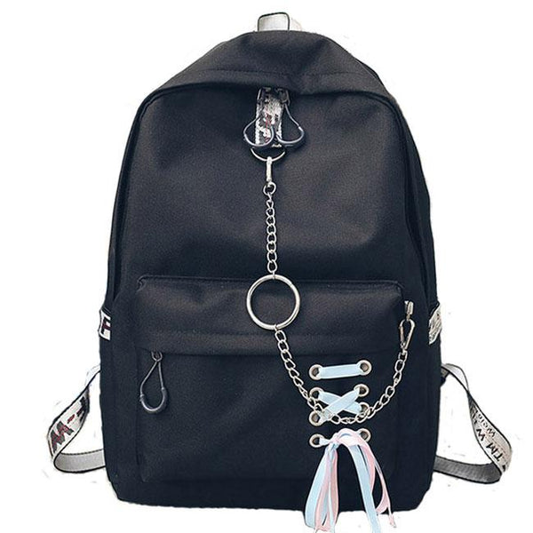 Leisure Shoelace Designed Ribbon Chain-laden Metal Chain School Bag Girl's Canvas Backpack For Big Sale!- Fowish.com