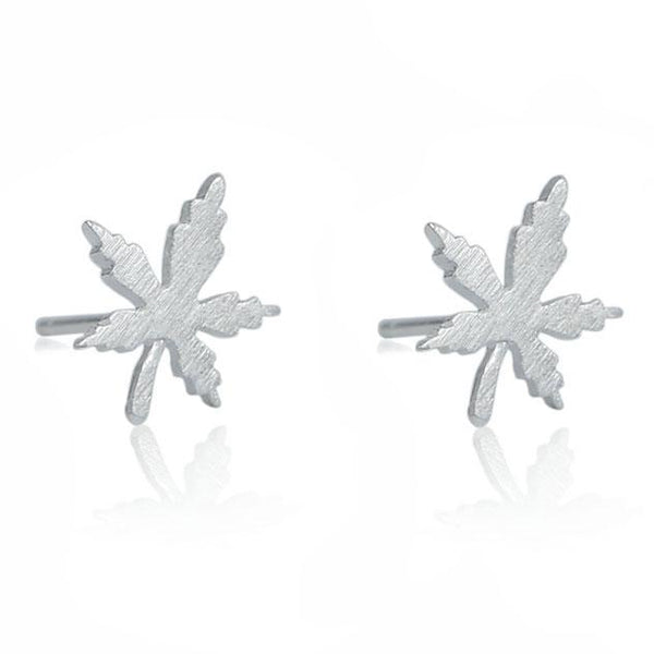 Cute Quaint Girl's Simple Maple Leaf Brushed Silver Mini Retro Earring Studs For Big Sale!- Fowish.com