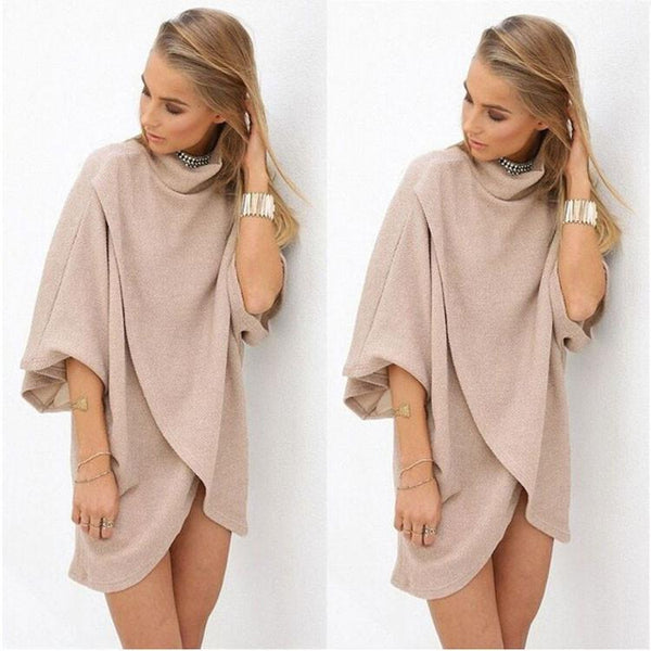 Fashion Cream Pagoda Sleeve Irregular Knit Dress For Big Sale!- Fowish.com