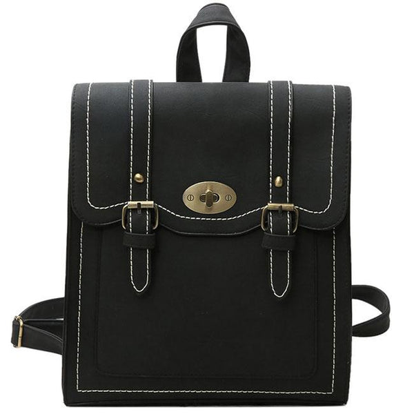 Unique Frosted PU Square Flap Shoulder Bag Backpack Belt Double Metal Locks School Backpacks For Big Sale!- Fowish.com