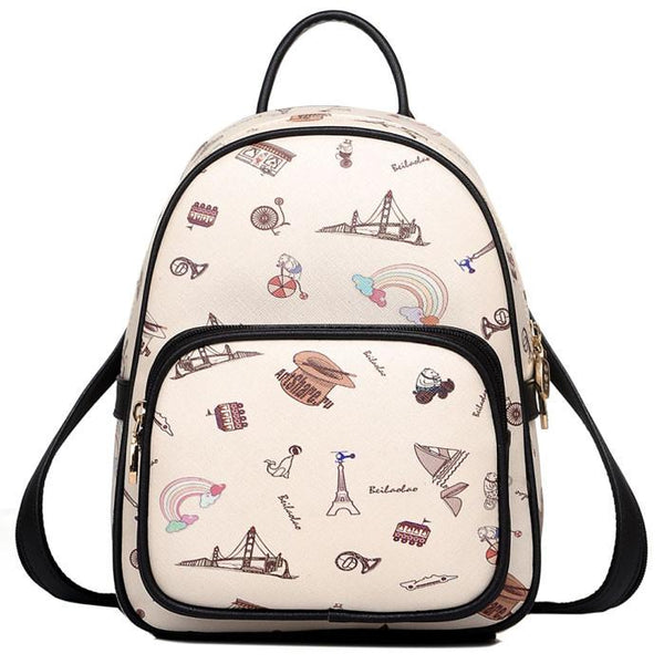 Cartoon British Style Women Rucksack Mini World Travel College Backpack - lilyby