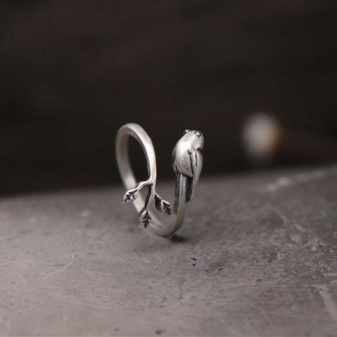 Original Retro Bird Tree Leaves Animal Silver Open Rings For Big Sale!- Fowish.com