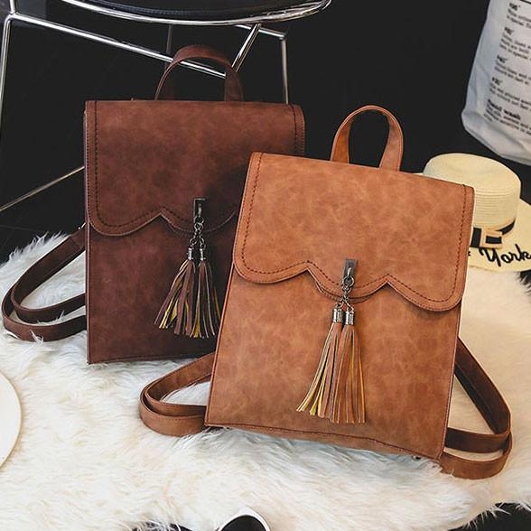 Retro Simple PU Tassels Women Student School Backpacks For Big Sale!- Fowish.com