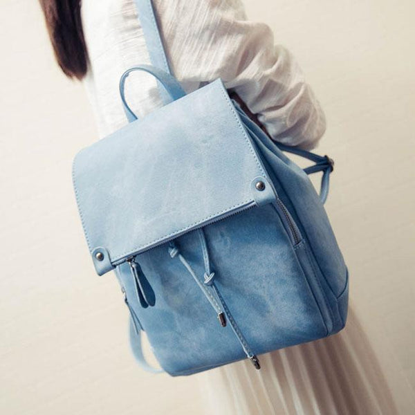 Retro Frosted Girl's Solid Color PU Draw String Square Flap School Backpack For Big Sale!- Fowish.com