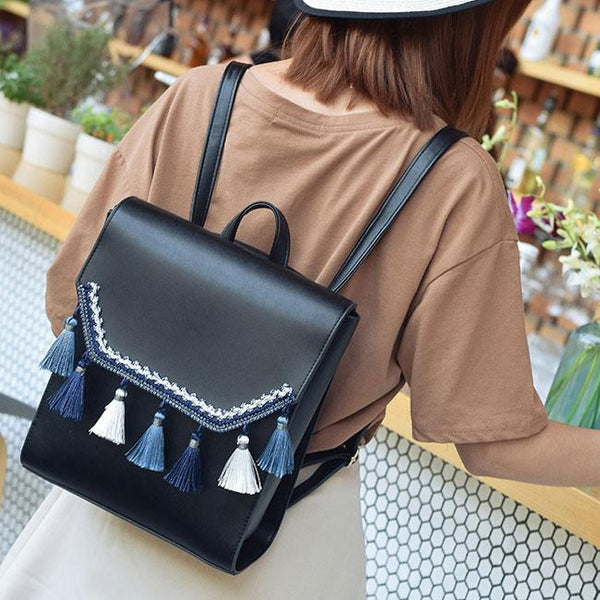 Unique Square PU Embroidery Tassels Flap Folk School Lady Backpack For Big Sale!- Fowish.com