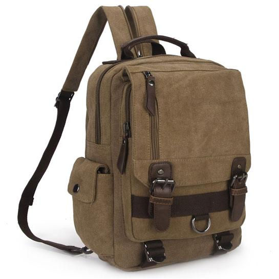Unique Multifunction Multi Zippers Square Canvas Shoulder Bag School Backpack For Big Sale!- Fowish.com