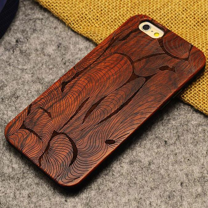 Handmade Carving Abstract Geometry Wood  Case For Iphone 5/5S/6/6Plus - lilyby