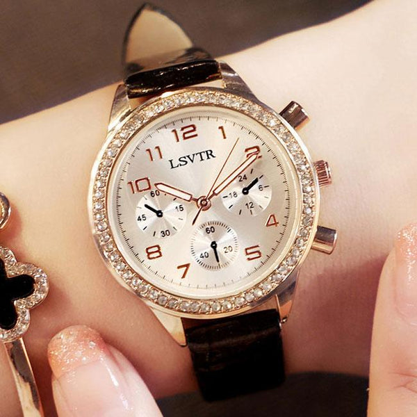 Unique Shining Flowing Diamond Roman Numerals Dial Quartz Women Watch For Big Sale!- Fowish.com