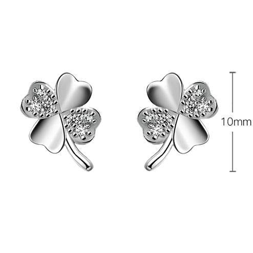 Cute Four-leaf Clover Lucky Clover Simple Silver Girl's Shining Diamond-embedded Mini Cute Earring Studs For Big Sale!- Fowish.com