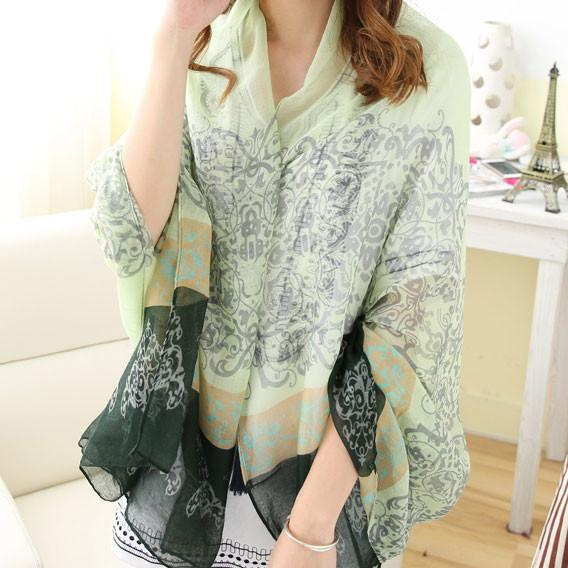 Women Flower Vine Pattern Shawl Scarf Dual Beach Towel Sunscreen Scarf For Big Sale!- Fowish.com
