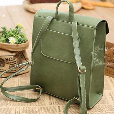 Fresh Green Horse Button PU School Bag College Backpack - lilyby