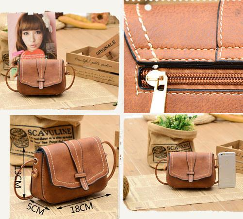 Retro Brown Simple Mini Square Lady Messenger Bag Shoulder Bags - lilyby