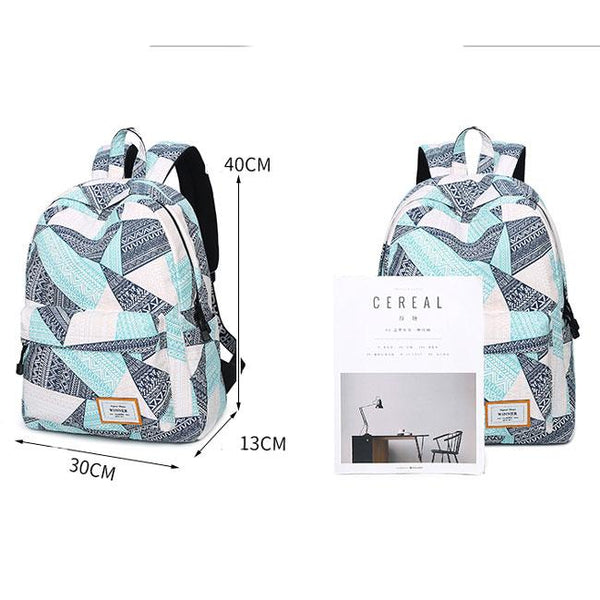 Creative Waterproof Large Capacity Geometric Pattern Printing Girl's Canvas School Backpack For Big Sale!- Fowish.com