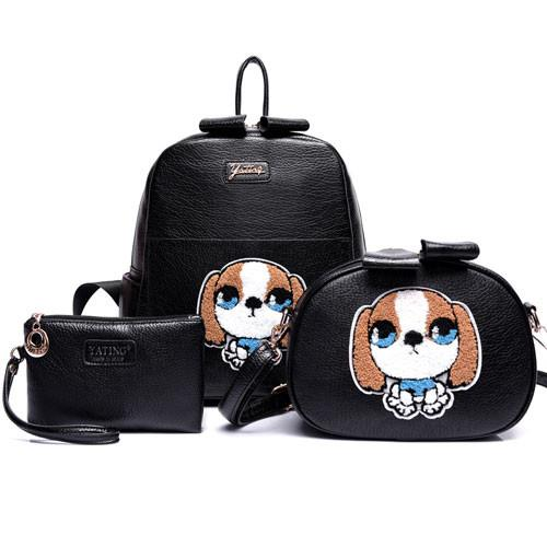 Cute Embroider Cartoon Dog Three-piece Backpack Shoulder Messenger Bag Handbag - lilyby